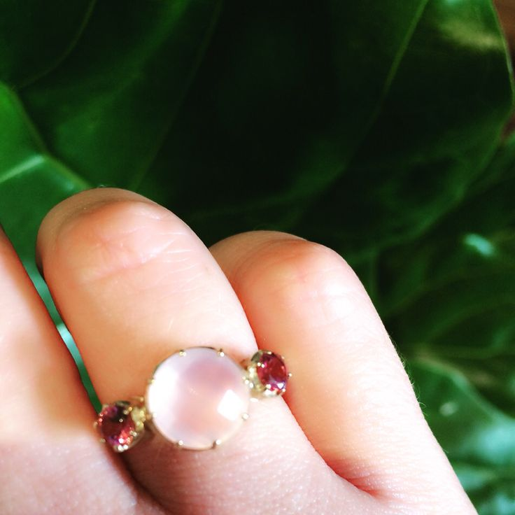Pantone Rose Quartz colour of the year ring $460 featuring pink tourmalines on the shoulders in 9ct gold ...