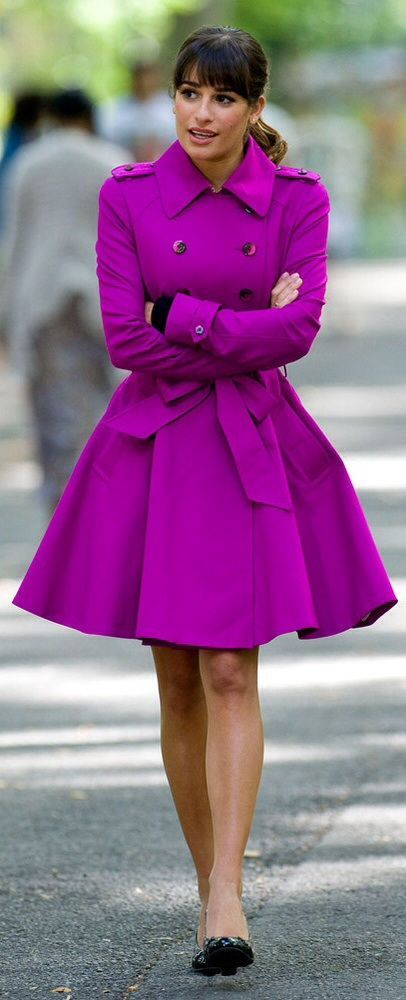 How adorable is THIS COAT??? Purple double breasted trench winter coat