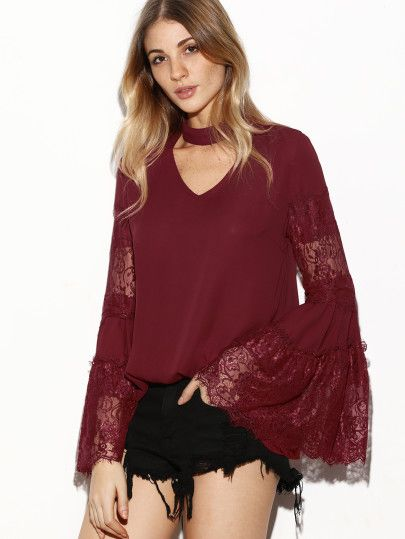 Burgundy Cutout Choker Lace Bell Sleeve Top