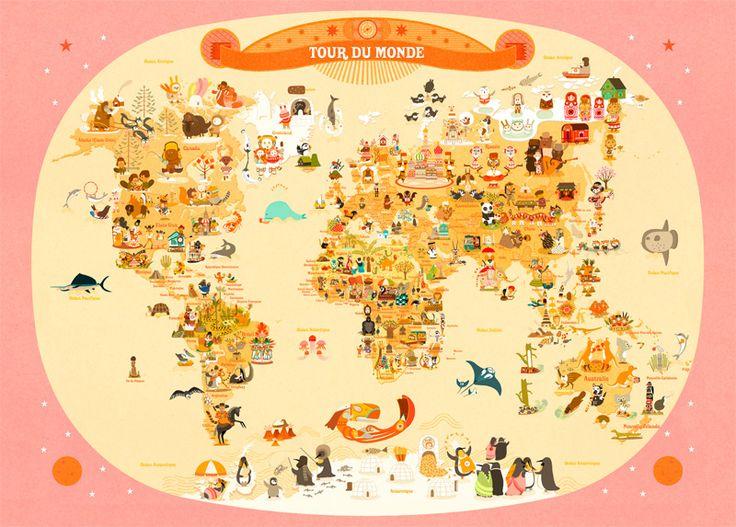 Tour du Monde, Julie Mercier - poster éducatif - L'Affiche Moderne