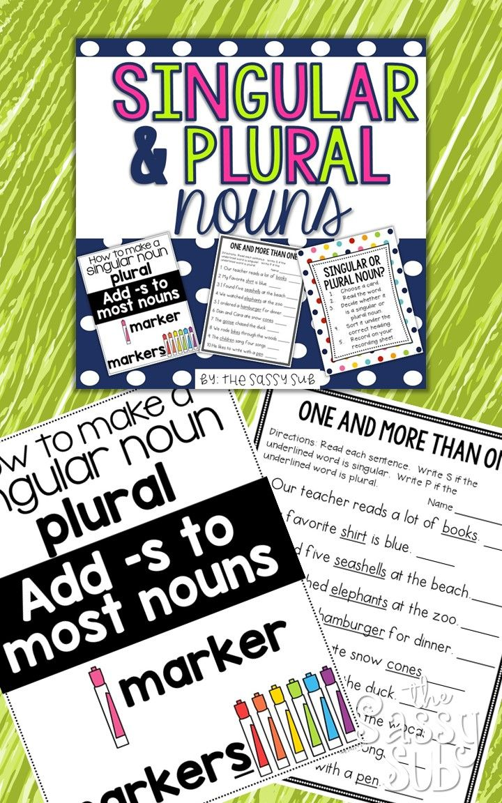 Teach all about making singular nouns plural with these colorful reference posters in color and black and white options, posters for reviewing the rules for changing words from singular to plural, singular and plural noun word sorting center in color and black and white with recording sheet, 3 no prep printables with answer keys
