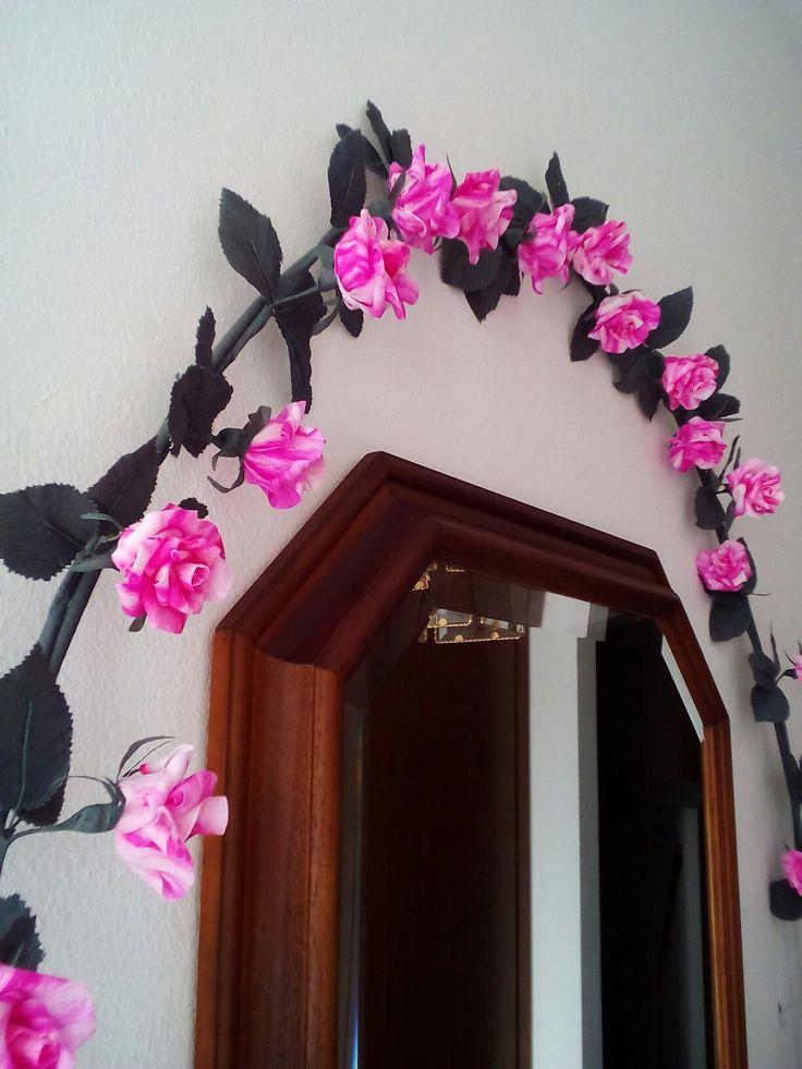 Rose screziate in carta crespa per ghirlanda - Anna Bonelli