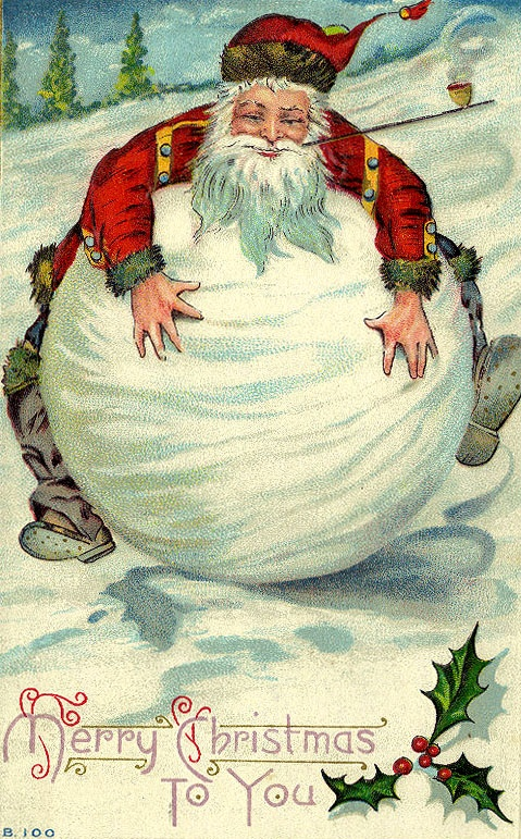 Santa gets so fat his tummy turns into a giant Snowball...  And eventually into Frosty the Snow Man!