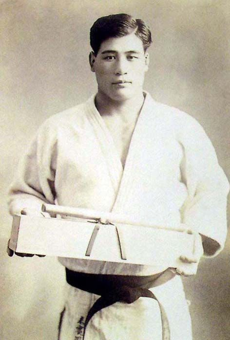 """Masahiko Kimura, widely considered one of the greatest judoka of all time. In submission grappling, the reverse ude-garami arm lock is often called the """"Kimura"""", due to his famous victory over Gracie jiu-jitsu co-creator Hélio Gracie in Brazil in 1951."""
