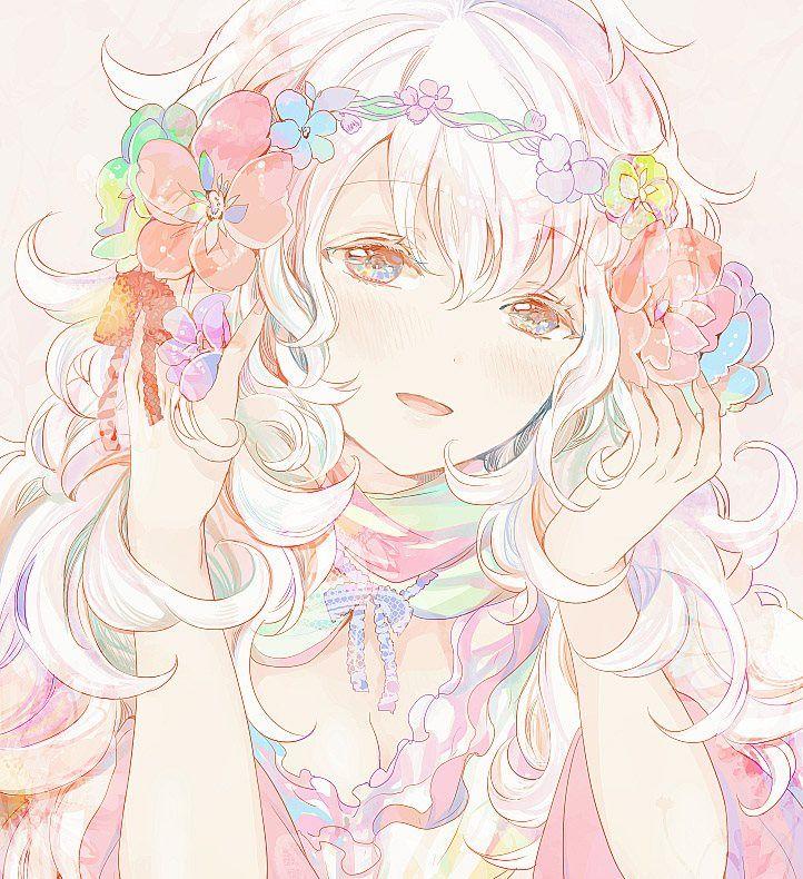 ✮ ANIME ART ✮ anime. . .pastel. . .white hair. . flower crown. . .blush. . .cute. . .kawaii