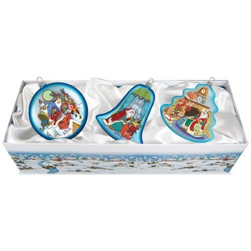 """Set includes 3 ornaments. Product Type: Shaped ornament. Attachment Type: Hanging ornament. Theme: Santa. Country of Manufacture: United States. Primary Material: Glass. Hand-blown thin glass size: 0.059"""". 