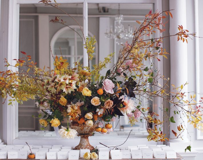 Looking For Alaska Flower: Wild-looking Fall Centerpiece With Persimmons
