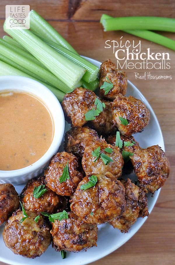 Spicy Chicken Meatballs with Buffalo Sauce. Would be great dipped in Walden Farms Blue Cheese Dressing. On MRC weight loss menus omit the honey, sub for 1 packet sweetener if desired.