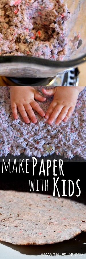 """Easy steps for making paper with kids (with a printable """"recipe"""" card to file away for later), from Tinkerlab.com"""