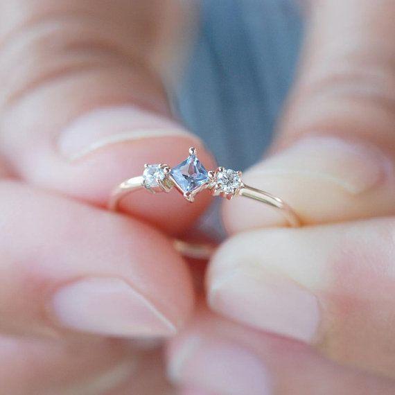 Aquamarine diamond ring, princess cut engagement ring rose gold, alternative engagement ring
