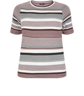 Curves Fine Knit Stripe High Neck 1/2 Sleeve Top | New Look