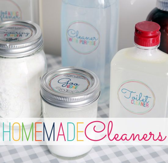 """""""Recipes"""" for homemade, safer household cleaners PLUS cute labels to download and print to put on the bottles of cleaners...SWEET!"""
