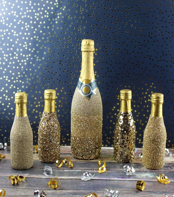 How to glitter champagne bottles
