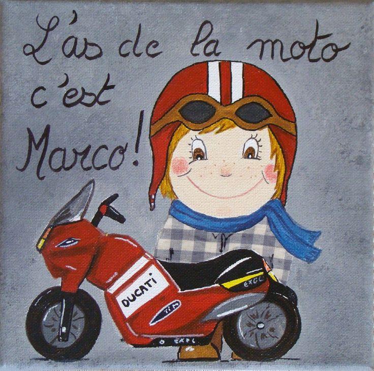 tableau acrylique avec moto chambre garçon