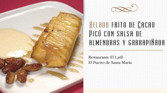 Helado frito de Cacao Picó con salsa de almendras y garrapiñada More