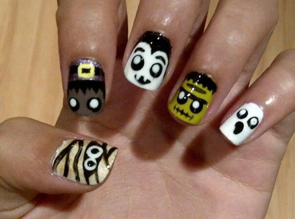Halloween nails! :): Monsters Nails, Halloween Monsters, Haloween, Nails Art, Fashion, Nails Design, Ghosts, Beautiful, Cute Halloween Nails