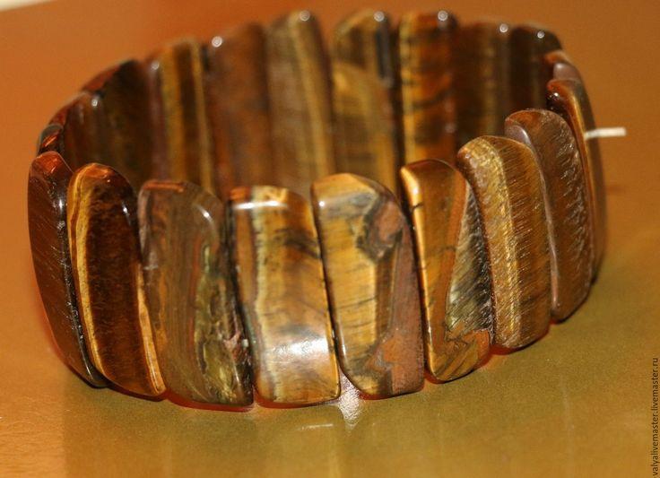 """Купить Браслет тигровый глаз натуральный с огранкой-крокодилит""""ТИГР"""" - нежное украшение, недорогой подарок"""