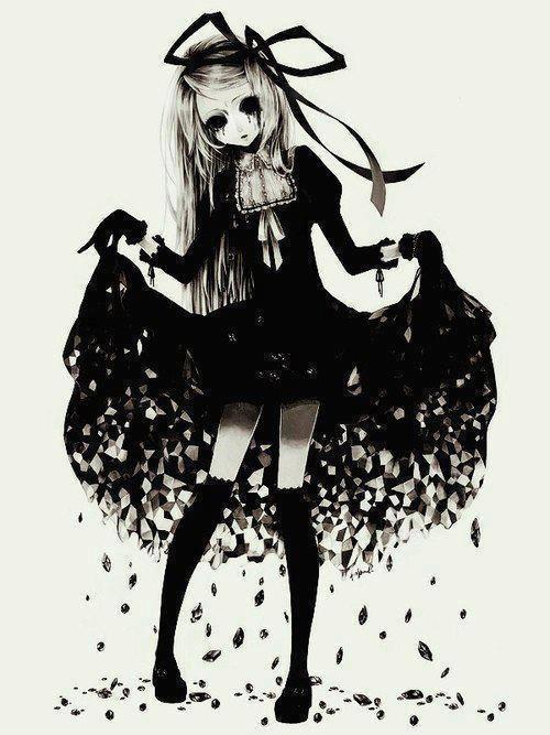 anime girl black and white - Пошук Google