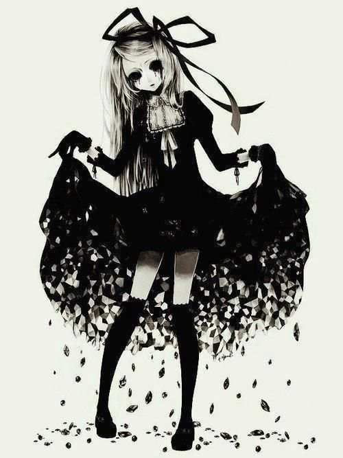 anime girl black and white - Пошук Google