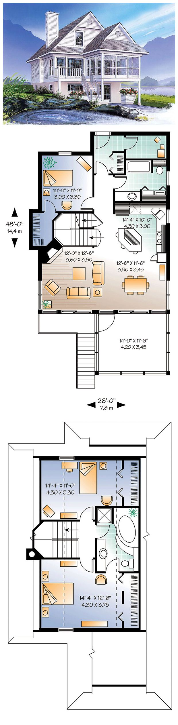House Plan 65000 | Total living area: 1484 sq ft, 3 bedrooms & 2 bathrooms. Fireplace, abundant windows, screened porch, built-ins & wood burning fireplace. #coastalhome #houseplan