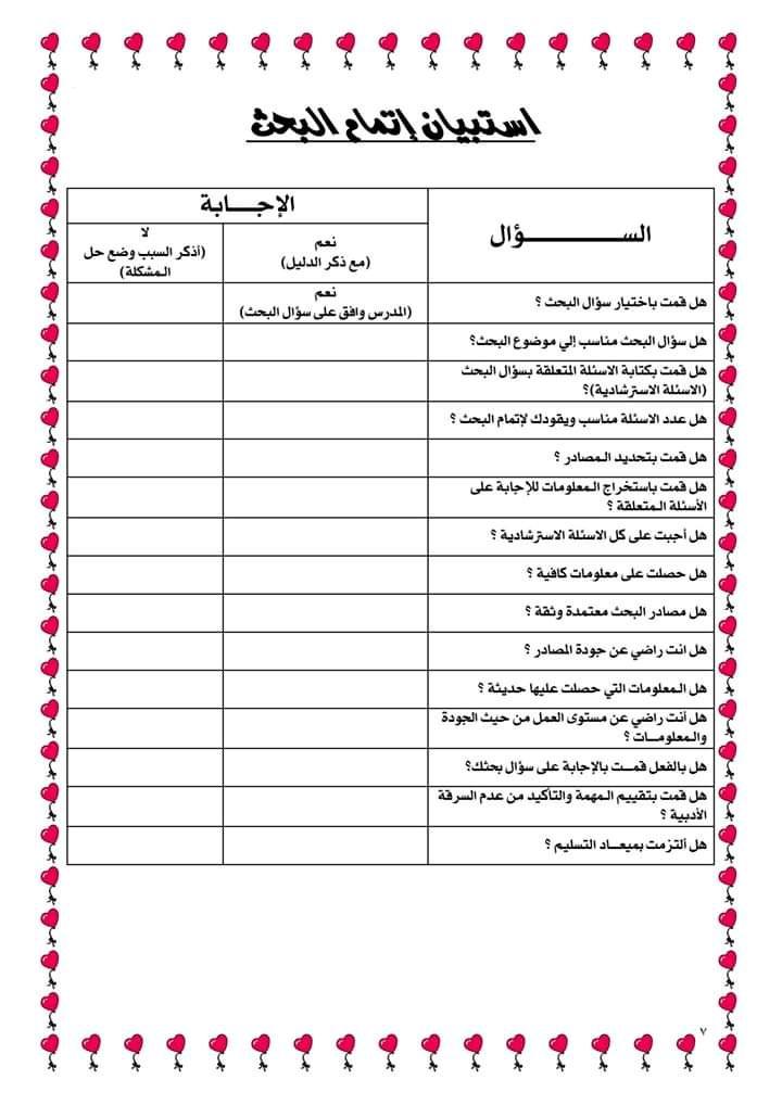 نماذج مشروع بحث الوزارة لطلاب المرحلة الابتدائية والاعدادية 2020 Chart Projects Free