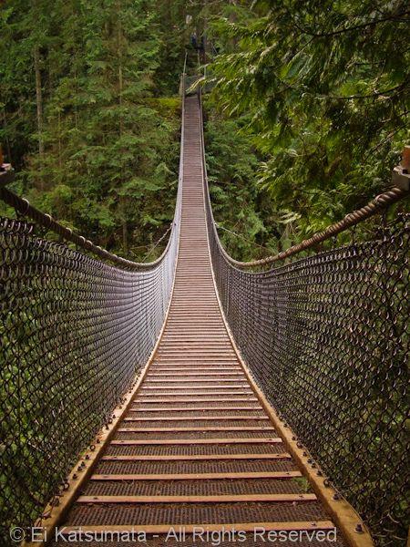 Lynn Canyon Suspension Bridge, Lynn Canyon Park, District of North Vancouver, British Columbia, Canada   by Ei Katsumata, via Flickr