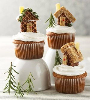Mini Gingerbread House Cupcakes plus other amazing gingerbread houses on the link :)