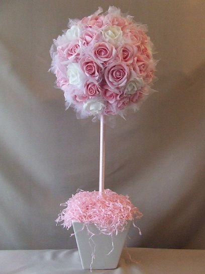 tulle and flower topiary