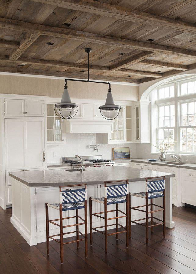 Navy stripe stools. Double pendant light. Kitchen #Barnwood #ReclaimedWood  #ReclaimedWoodCeiling - Best 25+ Wood Ceilings Ideas Only On Pinterest Wood Plank