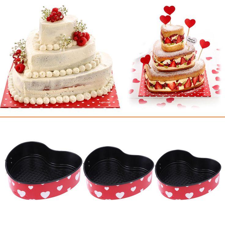 3pcs/set Non-stick slipknot Heart Shape cake pan Spring form Pan Baking molds #VKTECH