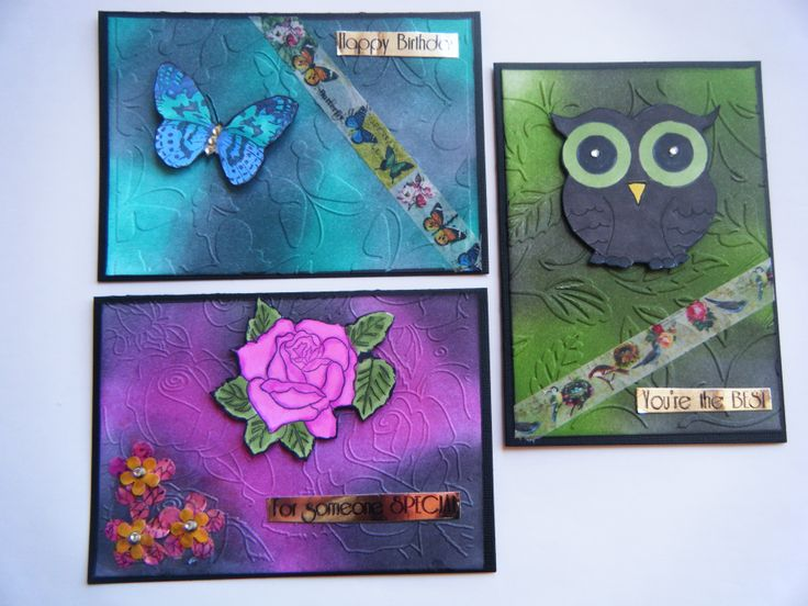 cards using distress inks and alcohol markers