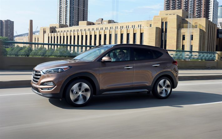 Download wallpapers Hyundai Tuscon, 2018, 4k, crossover, brown Tuscon, new cars, Hyundai