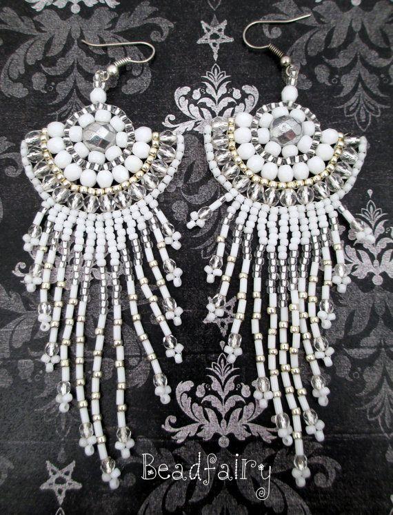 Snowflake Earrings 1 by BeadfairyStore on Etsy