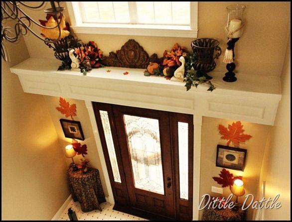 Fall-Foyer-Decorating--foyer-ledge-autumn-display                                                                                                                                                     More