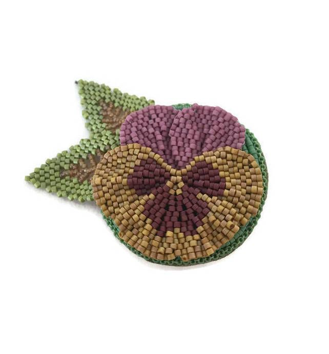 Beaded Pansy Flower Brooch Pin in Pinks and Yellow £17.50