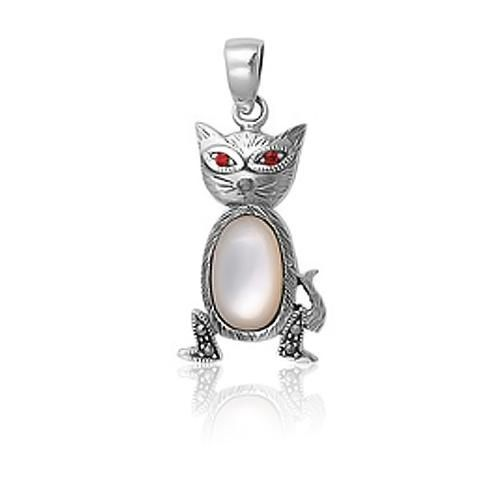 925 Sterling Silver Marcasite Cat Pendant Mother of Pearl Ruby CZ