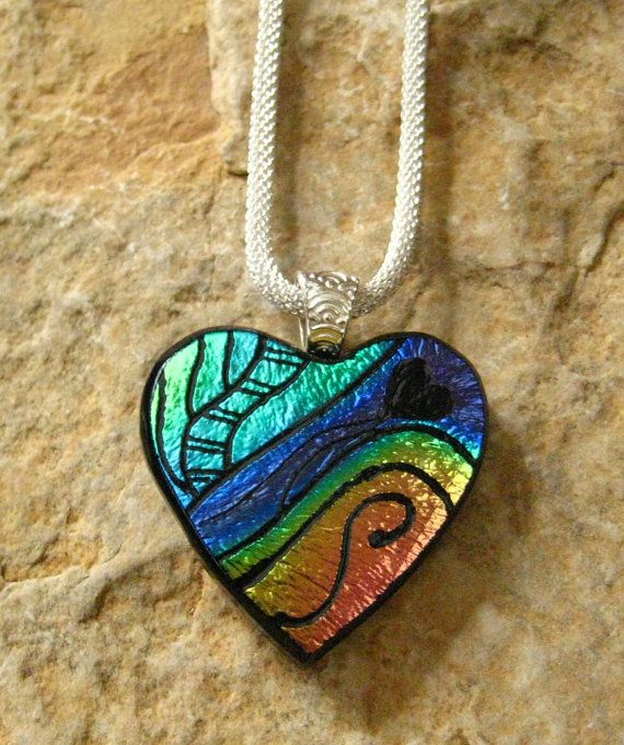Dichroic Heart Pendant Hand Engraved Glass Heart by GlassCat, $35.00