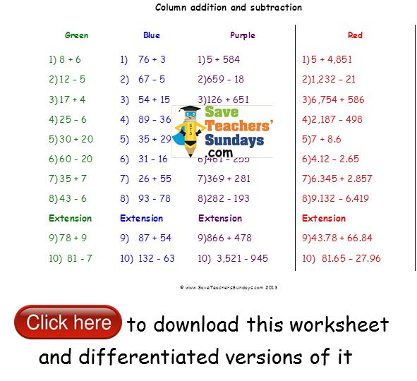Subtraction Worksheets : column addition and subtraction ...