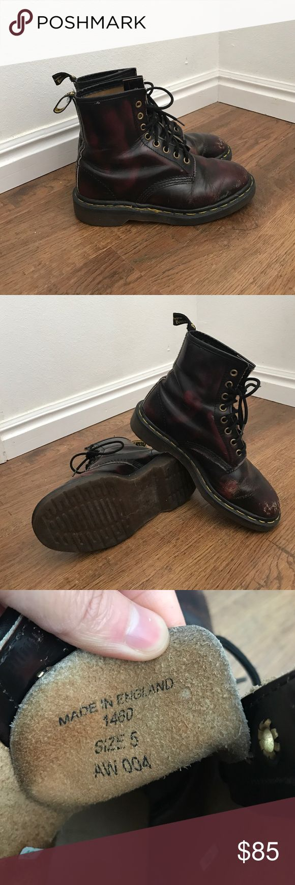Dr Doc Martens size 5 1460 boots Made in England True Dr Doc Martens 1460 leather Boots, Made in England. Women's Size UK 5, US 7, EU 38. Various scratches for that grungy look. In good condition! One of the tag is torn off, you can sew it back on or leave it as is still looks cool. Lots of life! Dr. Martens Shoes Combat & Moto Boots