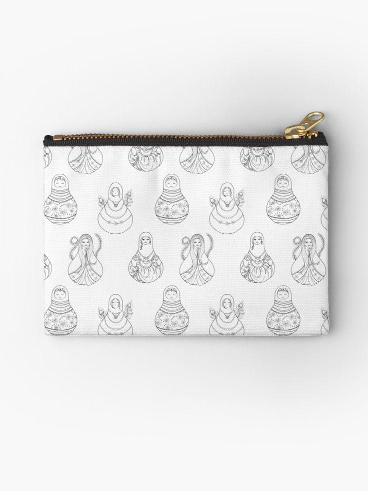Matryoshka Doll Hand Drawn Line Art Pattern Studio Pouches by Katri Ketola