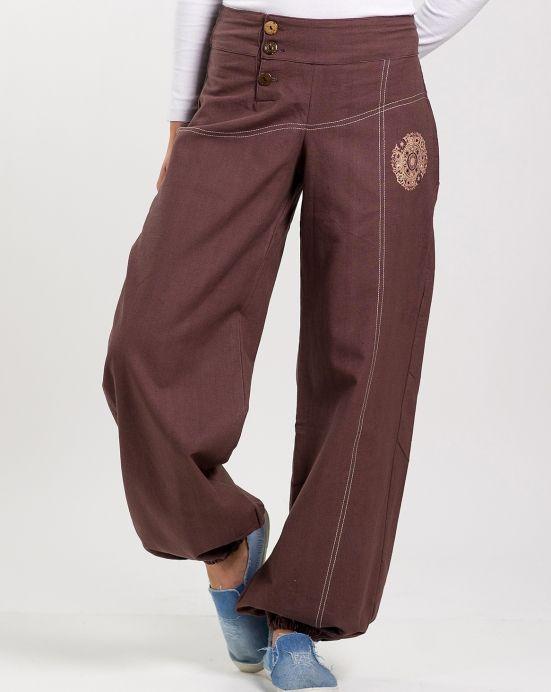 Kalhoty Steady s mandala výšivkou – hnědé