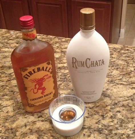 Cinnamon Toast Crunch Shot ~ It's So Delicious and Tastes Exactly Like The Cereal. Equal Parts of RumChata, and Fireball Whiskey. Enjoy!