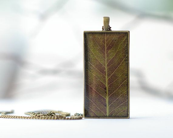 Real leaf necklace  brown woodland neutral pendant  by UralNature, $28.00