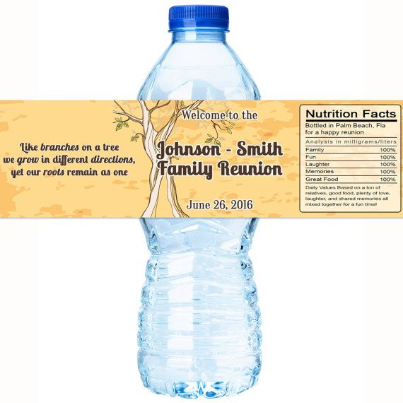 Family Reunion Water Bottle Labels Family by GreatLittleFavorCo