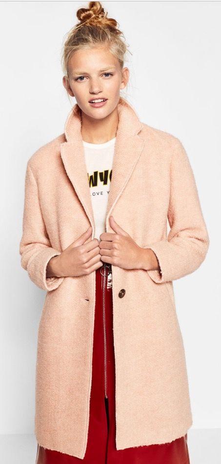 Manteau rose pâle effet maille ZARA