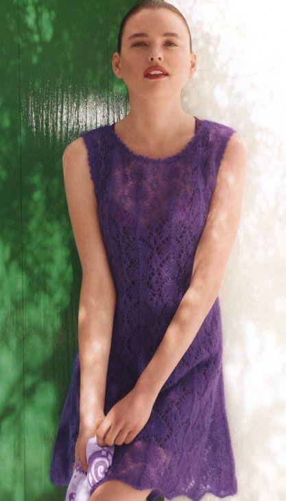 Лиловое ажурное платье спицами