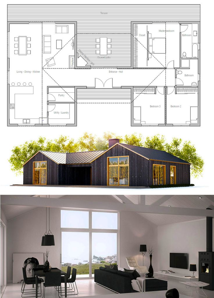 Floor Plan that is simple but that keeps sleeping and living areas completely separate #singlestoreyhomeplans