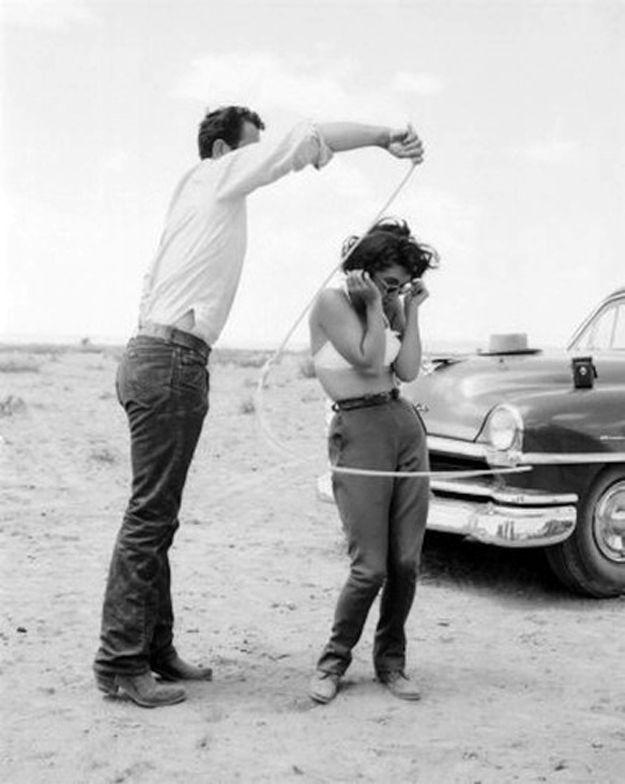 Elizabeth Taylor and Rock Hudson on the set of, 'Giant', 1956.