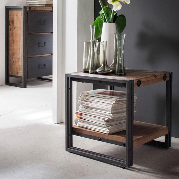beistelltisch manchester akazie massiv metall. Black Bedroom Furniture Sets. Home Design Ideas