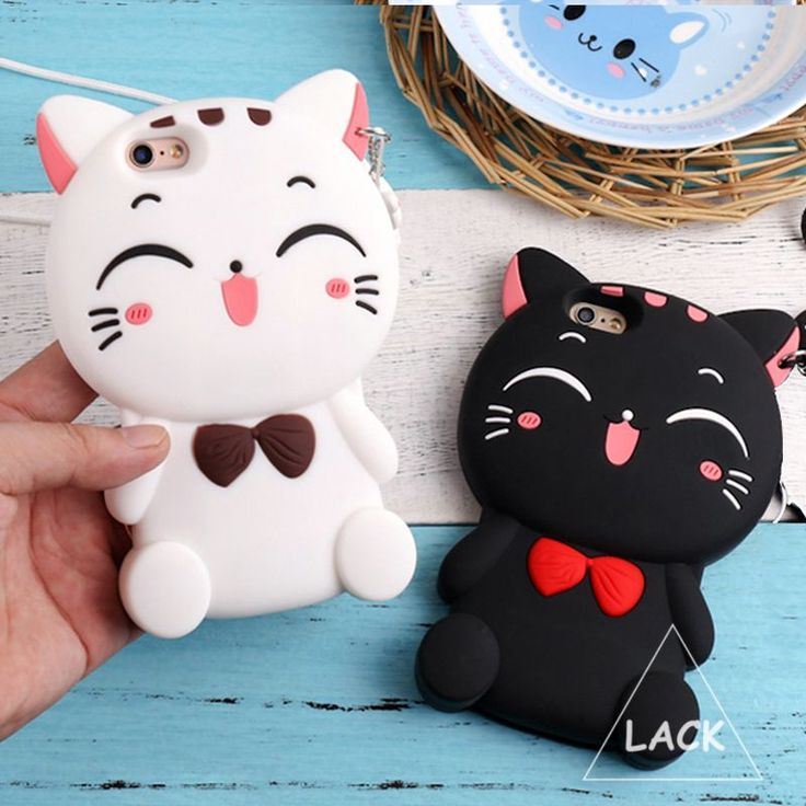 Cute Silicon 3D Cat Bow Case For iphone 5S Case For iphone 5 SE 6 6S Plus Cartoon Animal Lovely Rubber Phone Cases Back Cover #Iphone5Cases